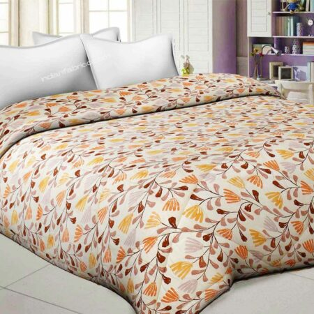 Lata Climber Cream Floral Double Bed Comforter Front