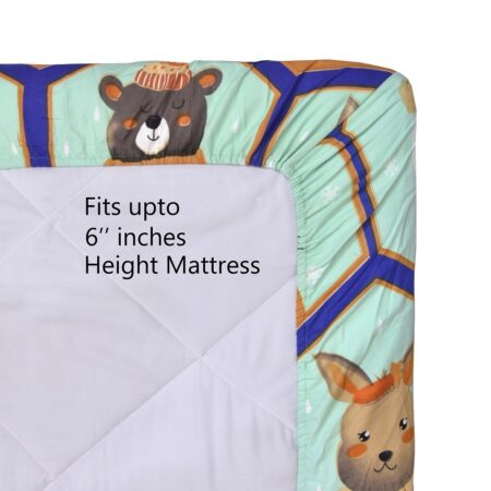 Panda Picachoo Supersoft Fitted Double Bedsheet with 2 Pillow Covers