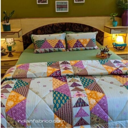 Pista Green Barmeri Pastel Pure Cotton Double Bed Dohar (Comforter)