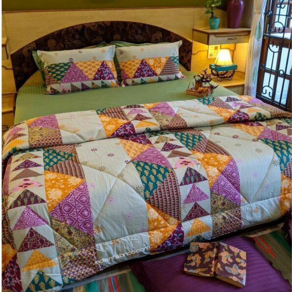 Pista Green Barmeri Pastel Pure Cotton Double Bed Dohar (Comforter) Front