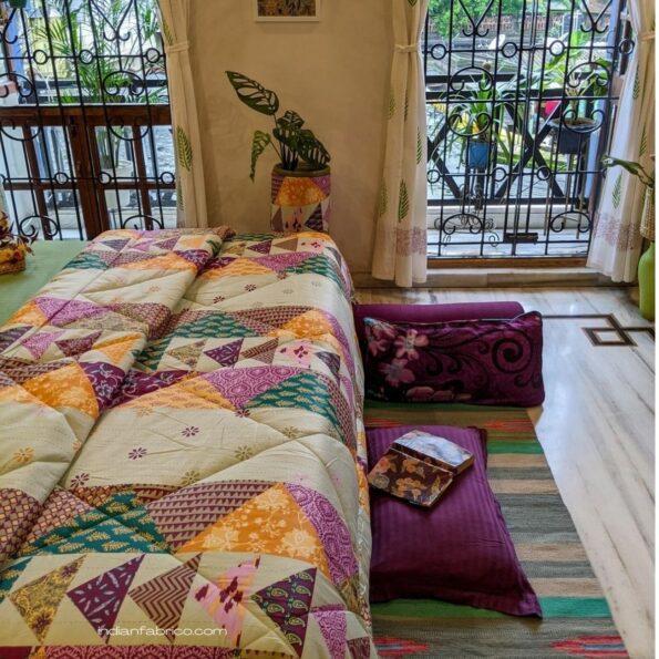 Pista Green Barmeri Pastel Pure Cotton Double Bed Dohar (Comforter) Side