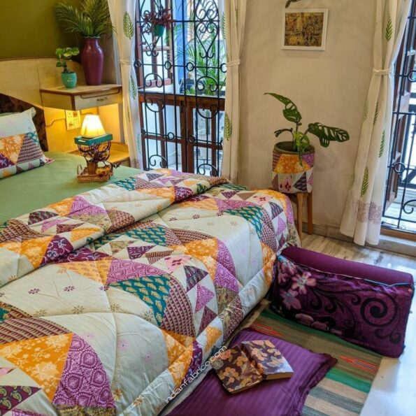 Pista Green Barmeri Pastel Pure Cotton Double Bed Dohar (Comforter) Sideview