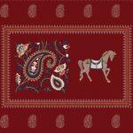 Royal Maroon Discharge Horse Rajwada Printing King Size Bedsheet