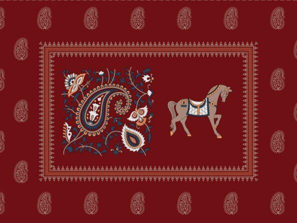 Royal Maroon Discharge Horse Rajwada Printing King Size Bedsheet Closeup