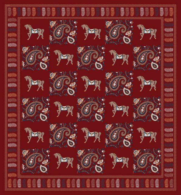 Royal Maroon Discharge Horse Rajwada Printing King Size Bedsheet Fullview