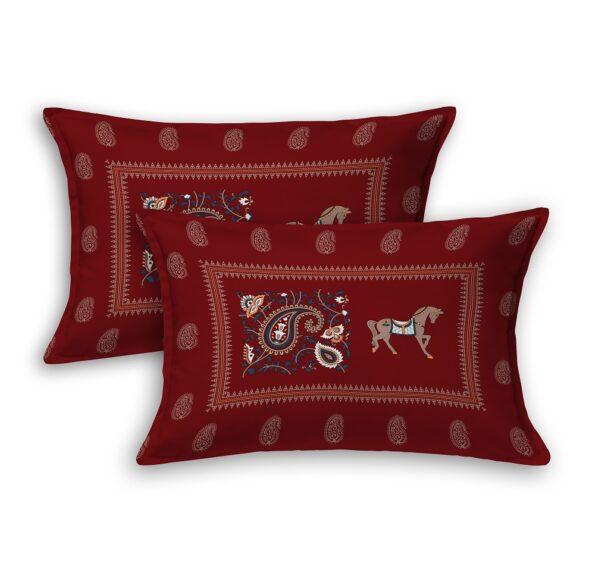 Royal Maroon Discharge Horse Rajwada Printing King Size Bedsheet Pillows