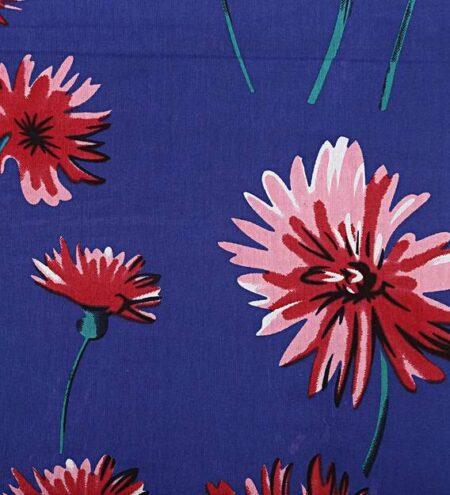 Sun Flower Blue Base Double Bedsheet Closeup