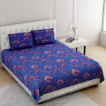 Sun Flower Blue Base Double Bedsheet With 2 Pillow Covers