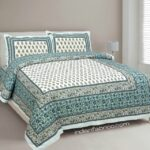 Turquoise Floral Print Cotton Double Bed Sheet