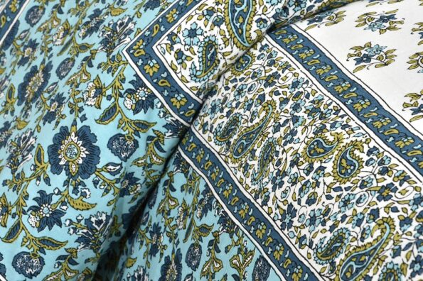 Turquoise Floral Print Cotton Double Bed Sheet Sideview