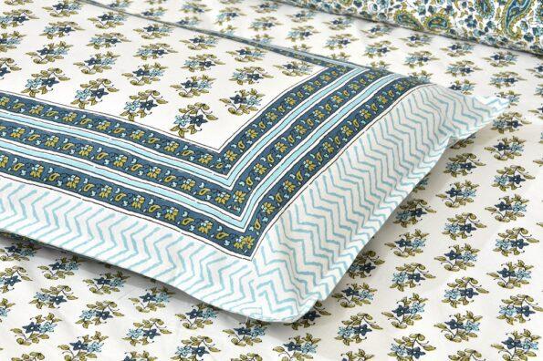 Turquoise Floral Print Cotton Double Bed Sheet cLOSEUP