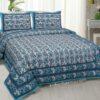 White Base Floral Print Cotton Double Bed Sheet