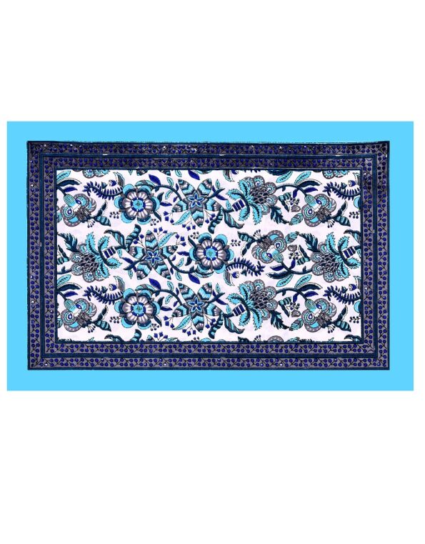 White Base Floral Print Cotton Double Bed Sheet Pillow