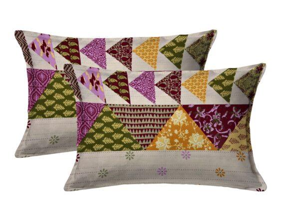 Barmeri Print Pink Patchwork King Size Bedsheet Pillow Covers