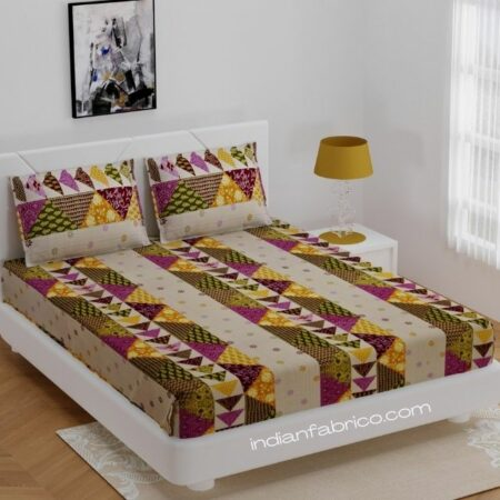 Barmeri Print Pink Patchwork King Size Bedsheet with Two Pillow Covers