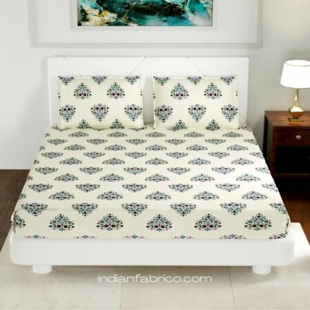 Beautiful Bouquet King Size Fitted Bedsheet with Two Pillow Covers