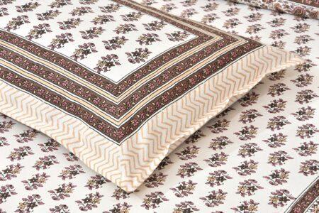 Brown Floral Print Cotton Double Bed Sheet Closeup