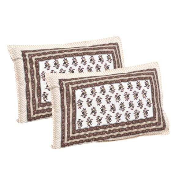 Brown Floral Print Cotton Double Bed Sheet Pillows