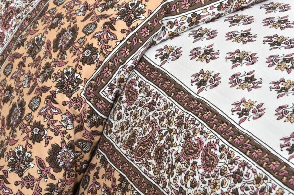 Brown Floral Print Cotton Double Bed Sheet Side View