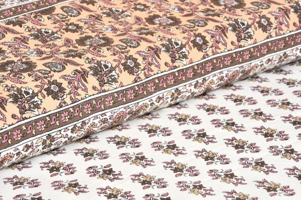 Brown Floral Print Cotton Double Bed Sheet Sideview