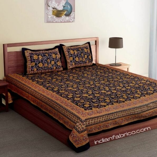 Dark Black Base Brown Floral Double Bedsheet