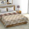 Dark Brown Flowers Bunch Pure Cotton Reversible Double Bed Dohar