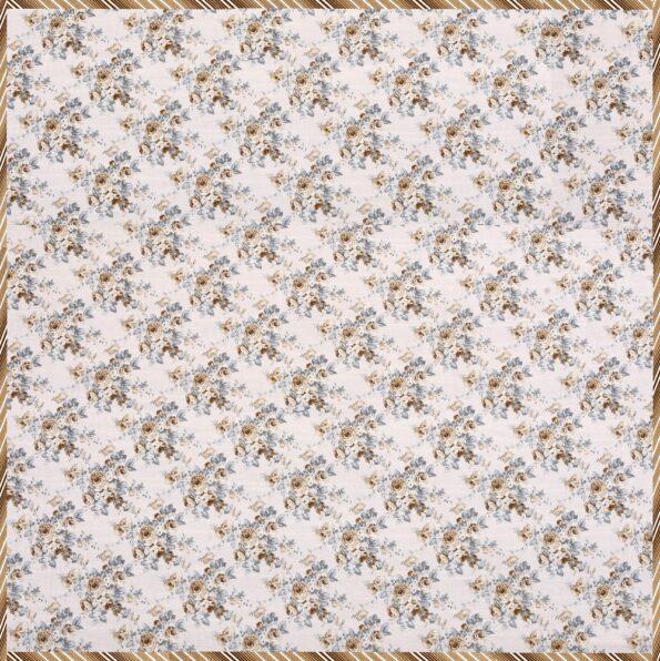 Dark Brown Flowers Bunch Pure Cotton Reversible Double Bed Dohar Fullview