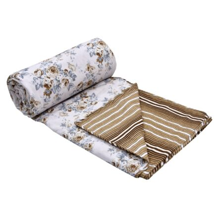 Dark Brown Flowers Bunch Pure Cotton Reversible Double Bed Dohar Roll