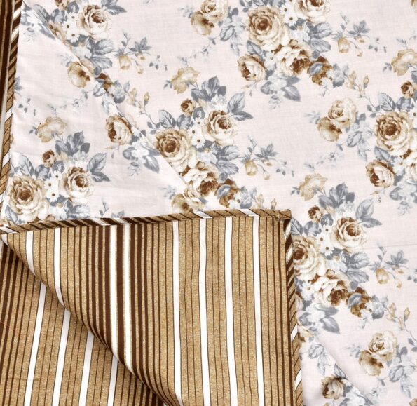 Dark Brown Flowers Bunch Pure Cotton Reversible Double Bed Dohar Top view