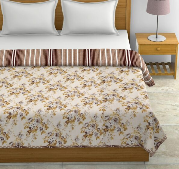 Dark Brown Flowers Bunch Pure Cotton Reversible Double Bed Dohars