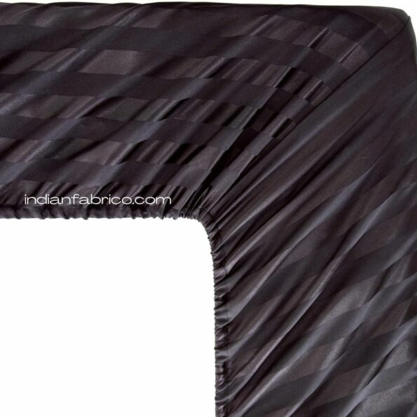Fitted Bedsheet – Solid Dark Black Satin Pure Cotton King Size Sheets Back side