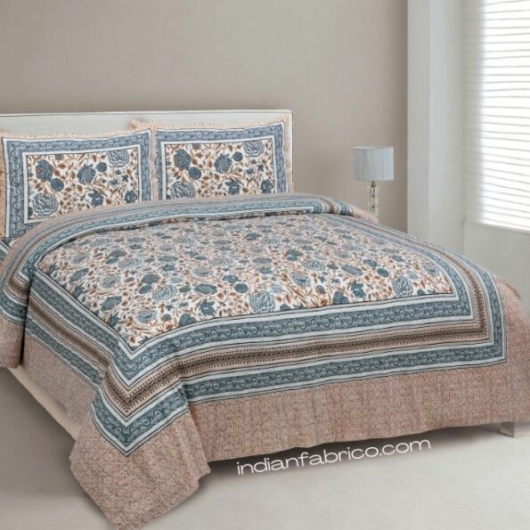 Grey Flowery Print Cotton Double Bed Sheet