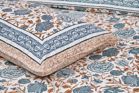 Grey Flowery Print Cotton Double Bed Sheet Closeup