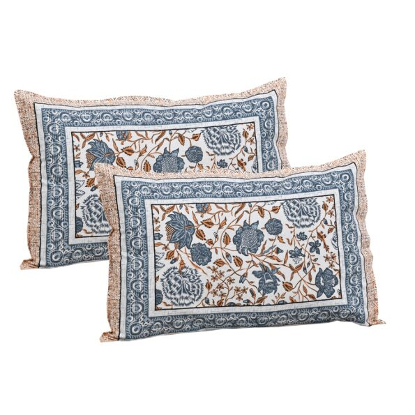 Grey Flowery Print Cotton Double Bed Sheet Pillows