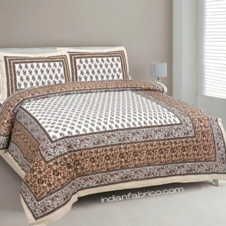 Indian Fabrico Brown Floral Print Cotton Double Bed Sheet