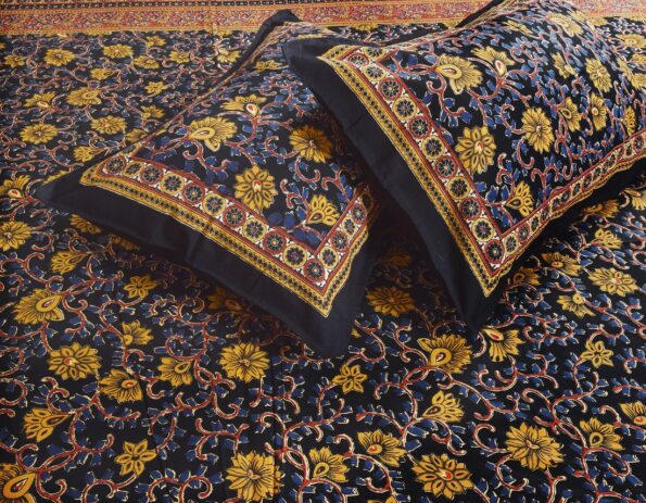 Indian Fabrico Dark Black Base Brown Floral Double Bedsheet Closeup