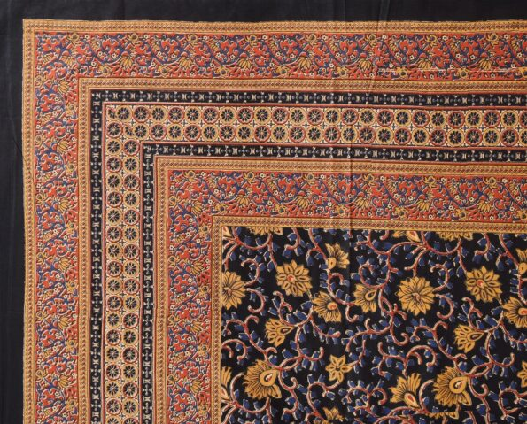 Indian Fabrico Dark Black Base Brown Floral Double Bedsheet Top view