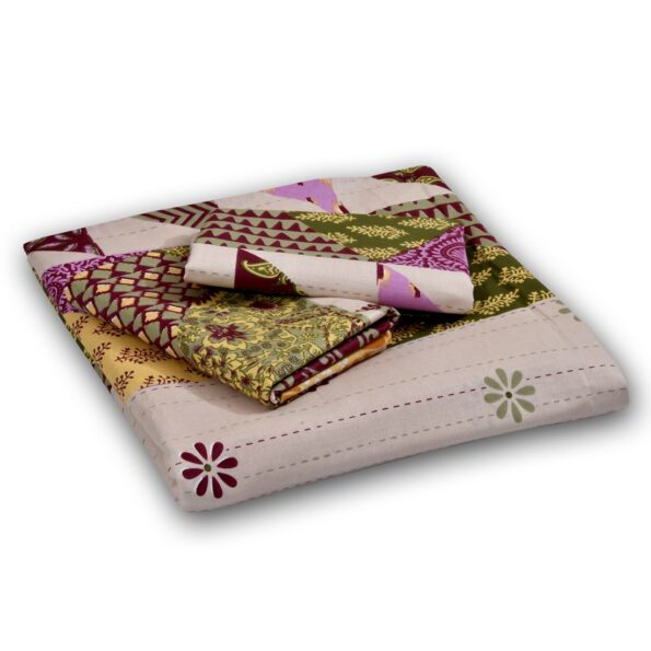 Indian Fabrico Patchwork King Size Fitted Bedsheet Closeup