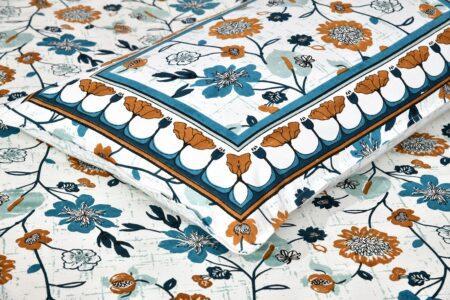 Jaipuri Brown Floral Print Double Bedsheet Closeup