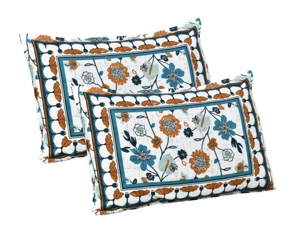 Jaipuri Brown Floral Print Double Bedsheet Pillow Covers