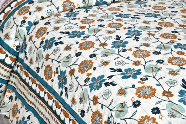 Jaipuri Brown Floral Print Double Bedsheet Sideview