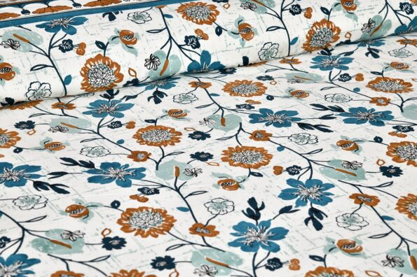Jaipuri Brown Floral Print Double Bedsheet Top view