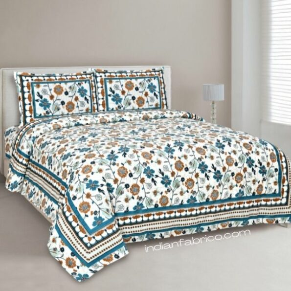 Jaipuri Brown Floral Print Double Bedsheet with Two Pillow Covers