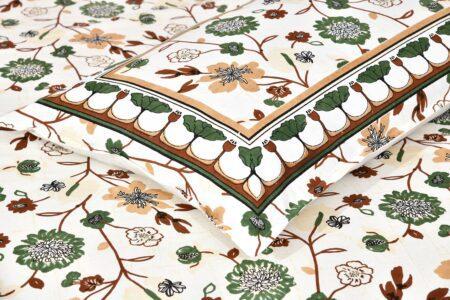 Jaipuri Green Floral Print Double Bedsheet Closeup