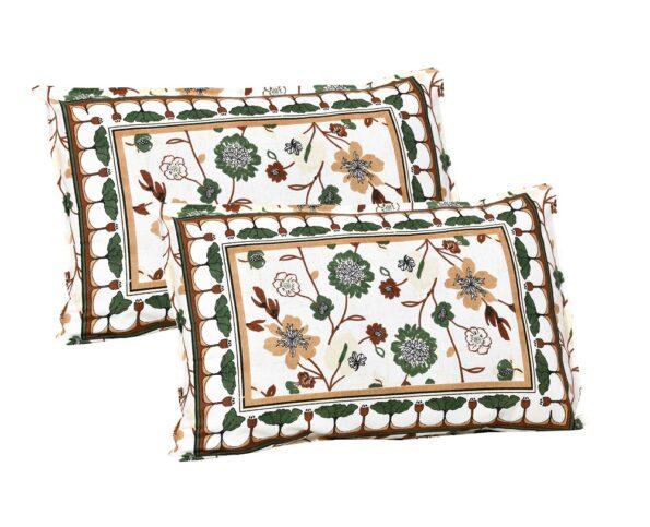 Jaipuri Green Floral Print Double Bedsheet Pillow Covers