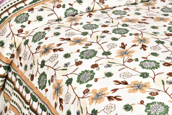 Jaipuri Green Floral Print Double Bedsheet Sideview