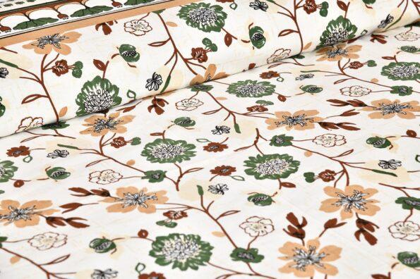 Jaipuri Green Floral Print Double Bedsheet Topview
