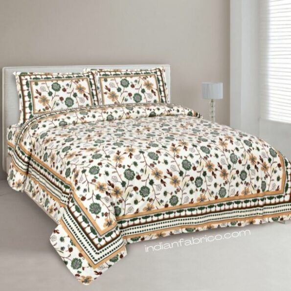 Jaipuri Green Floral Print Double Bedsheet with Two Pillow Covers