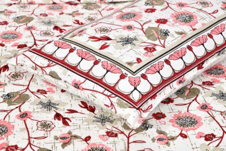 Jaipuri Pink Floral Print Double Bedsheet Closeup