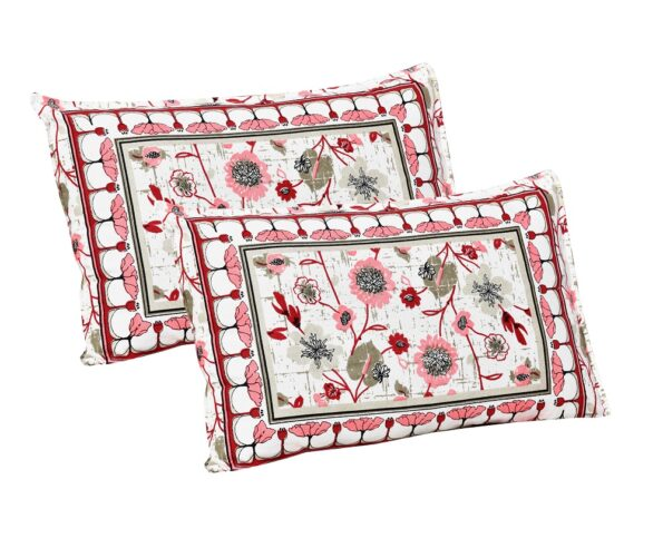 Jaipuri Pink Floral Print Double Bedsheet Pillow Covers